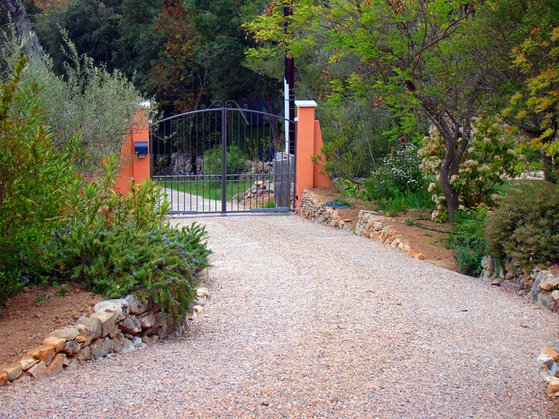 A gated driveway for safety and security.
